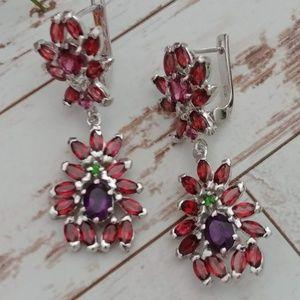 Jewelry - Designed Garnet & Amethyst Earrings